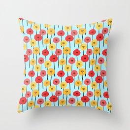 Bright Sunny Mod Poppy Flower Pattern Throw Pillow