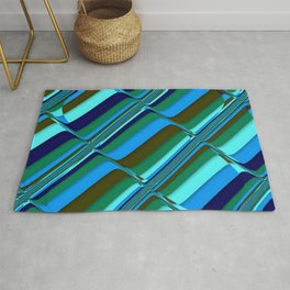 Vibrant Tiles in Blue, Green, Navy and Mint Rug