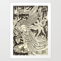 Girl With Octopus And Fish Art Print