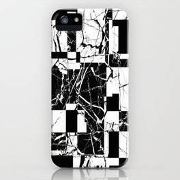 Manipulated Marble - Black and white, abstract, geometric, marble style art iPhone Case
