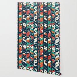 Colorful Vintage Geometric Stripes Pattern Wallpaper