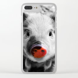 BW splash sweet piglet Clear iPhone Case