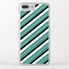 Team Colors 1...teal,black white Clear iPhone Case