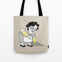 banksy Tote Bags featuring Misser Banksy No Es Here by dann matthews