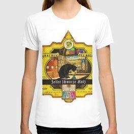 Vintage Zeller Schwarze Katz Wine Bottle Label Print T-shirt