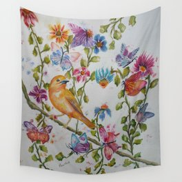 YELLOW BIRD WITH WHIMSICAL FLOWERS AND BUTTERFLIES Wall Tapestry