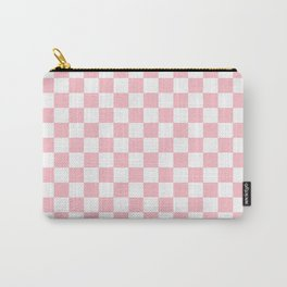 Small Checkered - White and Pink Carry-All Pouch