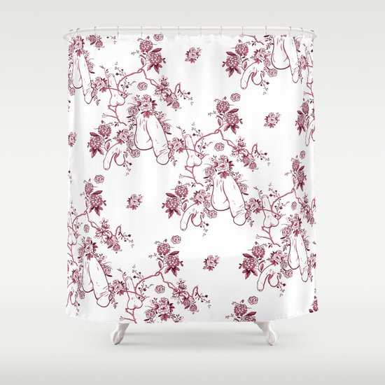 Penis Pattern RED Shower Curtain By Dapperdan