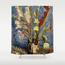 Vase with Gladioli and China Asters, by Vincent van Gogh Shower Curtain