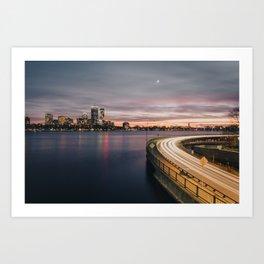 Boston City Skyline at Sunset Art Print