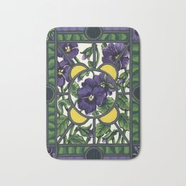Stained Glass Pansies Bath Mat