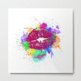 Neon Colorful Kiss 90s Metal Print