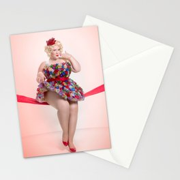 """Put a Bow On It"" - The Playful Pinup -  Christmas Bows Curvy Pin-up by Maxwell H. Johnson Stationery Cards"