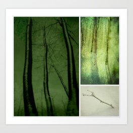 Collage ~ Green  snowed forest Art Print