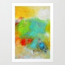 Green Aqua Yellow Abstract Art Painting Print  Art Print