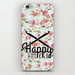 funny crochet vintage floral happy hooker iPhone Skin