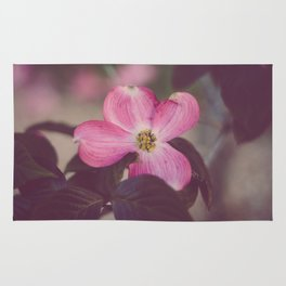 Pink Dogwood and Leaves Rug
