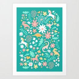 Dinosaurs + Unicorns on Teal Art Print
