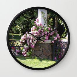Beautiful Pink Climbing Roses Around White Column Wall Clock