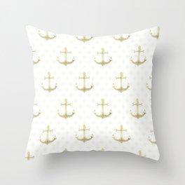 Golden Anchors Throw Pillow