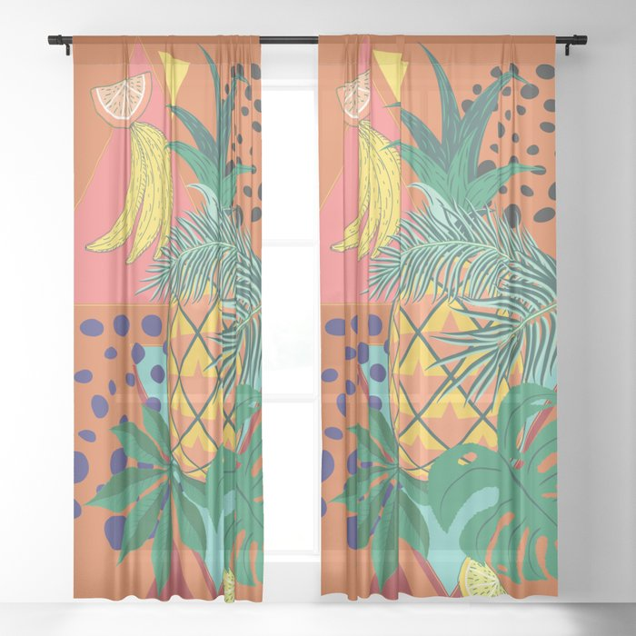Geometric pineapple with tropical leaves and fruits retro design Sheer Curtain
