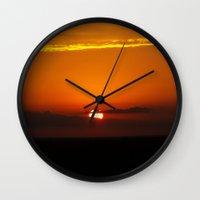 oklahoma Wall Clocks featuring Oklahoma Sunrise by Christy Leigh