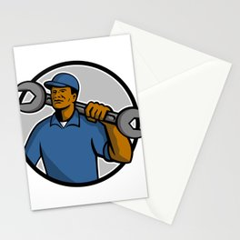 African American Mechanic Mascot Stationery Cards