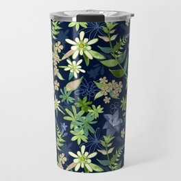 Alpine Flowers Blue - Gentian, Edelweiss Travel Mug