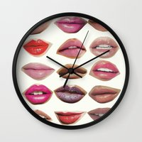 lips Wall Clocks featuring Lips by Emily Kenney