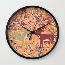 Deer & Doe in Woodland Fern Forest , Cute Stag meets his Love hidden among the Plants Wall Clock