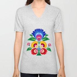 folk flower Unisex V-Neck