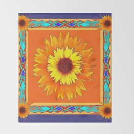 Southwestern Sun Flowers Abstract Design Throw Blanket