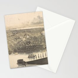 Vintage Pictorial Map of New York City (1855) Stationery Cards