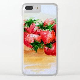 Summer Strawberries Clear iPhone Case