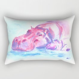 Hippo love Rectangular Pillow