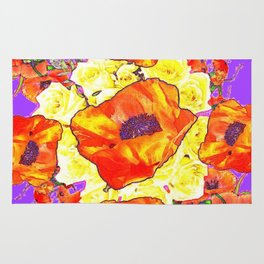 ABSTRACTED ORANGE POPPIES FLORAL LILAC YELLOW Rug