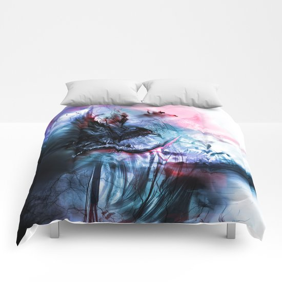 Black nature landscape with crow Comforters