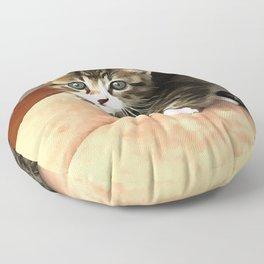 Tabby Cat Named Pipsqueak  Floor Pillow