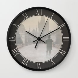 Prague in the morning fog Wall Clock