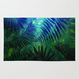 Blue Aloha - Morning Light abstract Tropical Palm Leaves and Monstera Leaf Garden Rug