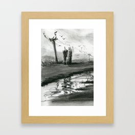 Ink and Carbon Pencil Framed Art Print