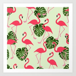 Vintage Green Leaves and Pink Flamingo pattern Cutest Art Print