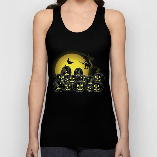 Pumpkins and witch in front of a full moon Unisex Tank Top