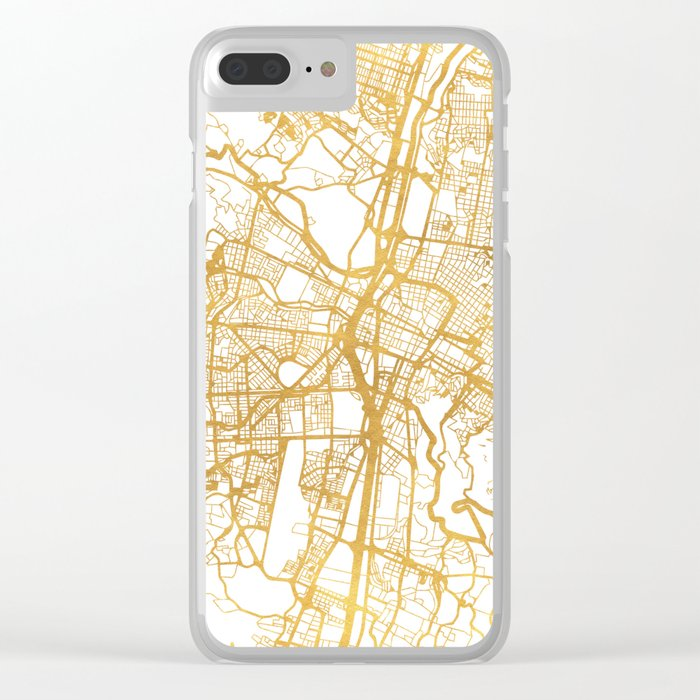 MEDELLÍN COLOMBIA CITY STREET MAP ART Clear iPhone Case