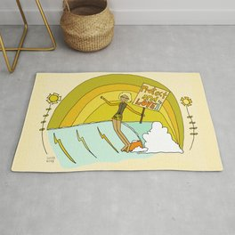 Protect and Love the Sea Lady Slider // retro surf art by surfy birdy Rug