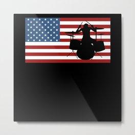 USA American Flag Drummer Drum Rock Band Metal Print