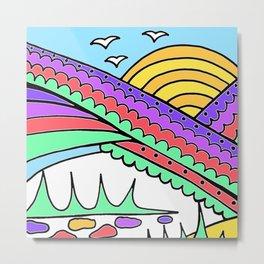 Doodle Art Rainbows Sun Birds - Purple Blue Metal Print