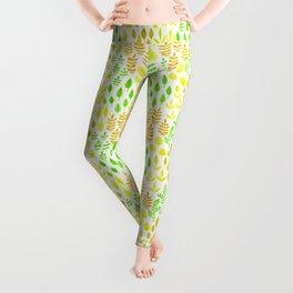 Watercolor doodle leaves pattern white Leggings