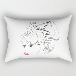 Sailors wife - girl - boat - seafarers wife - fine line Rectangular Pillow