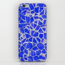 Blue broken glass texture iPhone Skin
